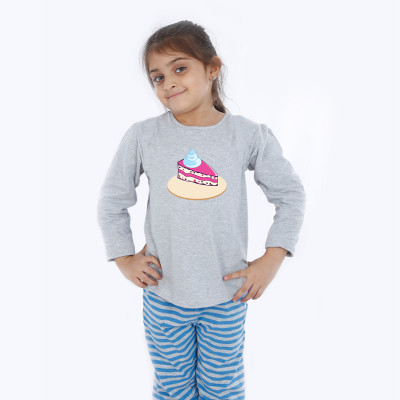 Grey Full Sleeve Girls Pyjama - Cake